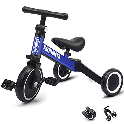 KORIMEFA 3 in 1 Kids Trike for Children 1-3 Years Old Kids Tricycle Boys Girls Baby Balance Bike 2 Wheels for Toddlers Tricycle with Removable Pedals (Blue)
