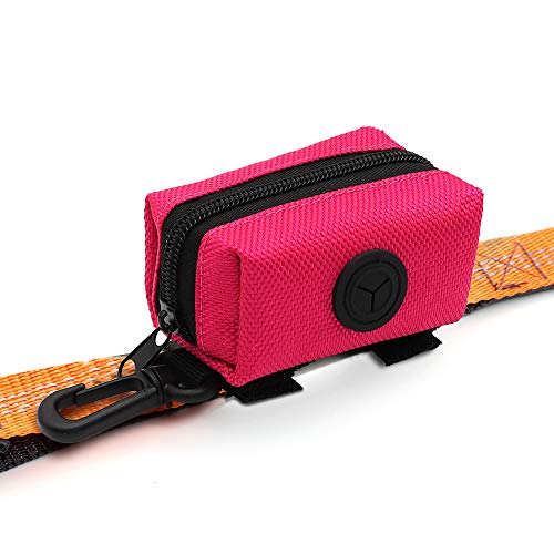 SLSON Pet Waste Bag Dispenser Zippered Pouch,Portable Dog Poop Bag Holder Leash Attachment Lightweight Fabric Bags (Pink)