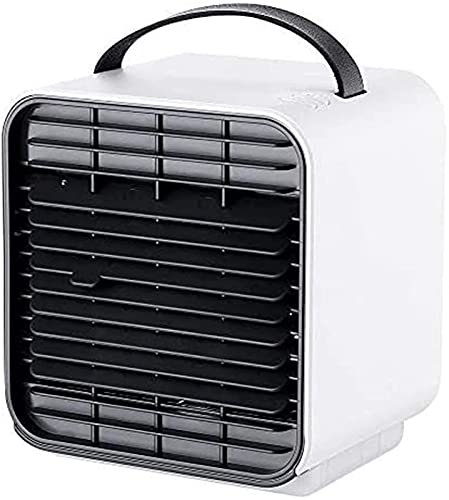 JANEFLY Portable Air Conditioner Fan, Personal Space Air Cooler, Humidifier,Air Purifier Fan,3 in 1 Evaporative Cooler, USB Rechargeable Mini Cooling Desktop Fan with LED Light,White Durable
