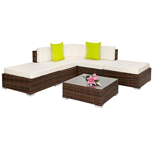 SSITG Aluminium Poly Rattan Garden Furniture Coffee Table Rattan Lounge Set Brown