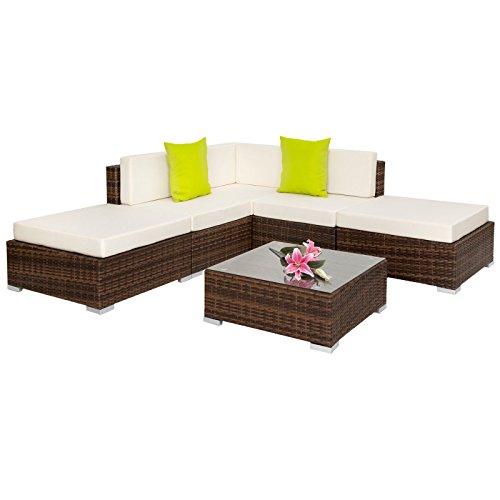 SSITG Alu Poly Rattan salon de jardin lounge en rotin Mobilier de jardin Table basse Set Marron