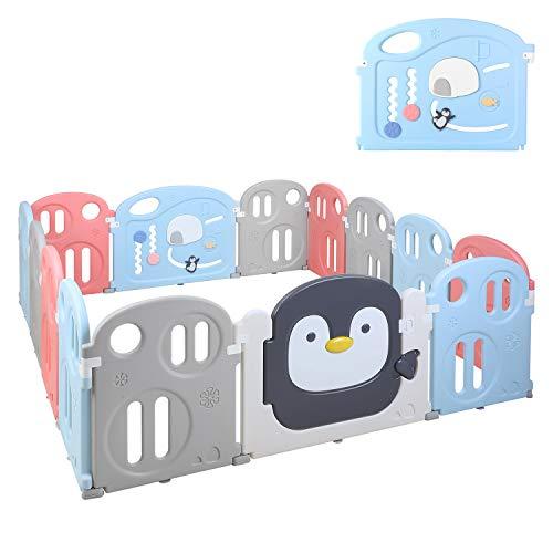 BAMNY Parc Bébé en Plastique Ecologiques, XXL, Barrière de Sécurité avec Porte et Jouet Extensible, pour Enfant 10 Mois à 6 Ans (Certificat EN71, Sans Plastifiant) (12+2, pingouin)