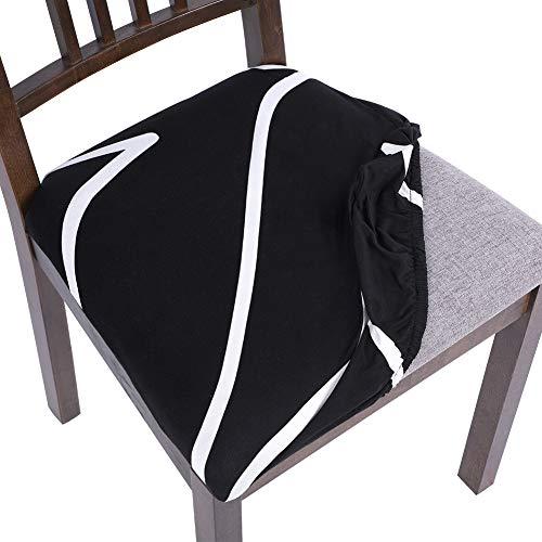 papasgix 4 fundas para silla sin respaldo elásticas, para comedor, con estampado lavable, antimanchas, extraíble, para casa, cocina, salón (línea/negro, 4 unidades)
