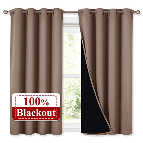 NICETOWN Bedroom Full Blackout Curtain Panels, Super Thick Insulated Window Covers, Keeping Out Cold Air and Heat 100% Blackout Blinds with Black Liner (Taupe, Set of 2 PCs, 52 by 54-inch)
