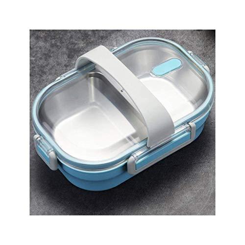 Nfudishpu Boîte à Lunch Contenant chauffé, pour boîte à bento en Acier Inoxydable 304 pour école pour Enfants, boîte à Nourriture Bento étanche à la Cuisine, 650 ML (Couleur: Noir) (Couleur: Bleu)