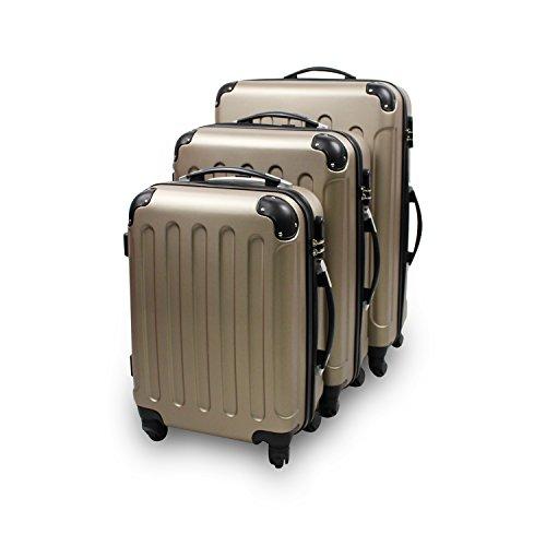 Todeco - Set Di Valigie, Valigie Da Viaggio - Materiale: Plastica ABS - Tipologia ruote: 4-ruote con 360° di rotazione - Angoli protettivi, 51 61 71 cm, Champagne, ABS