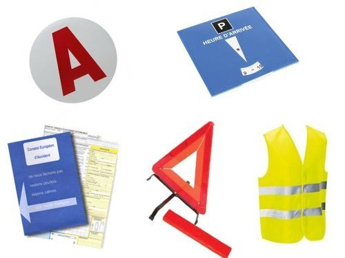Equilibre et Aventure Kit auto sécurité 5 pièces : 1 constat d'accident + 1 gilet jaune EN471 + 1 triangle de signalisation + 1 disque électrostatique\