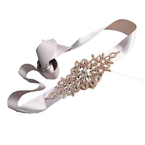 olyrjie Rhinestone Wedding Dress Belt Ribbon Crystals Evening Sashes Handmade (175cm long, Black)