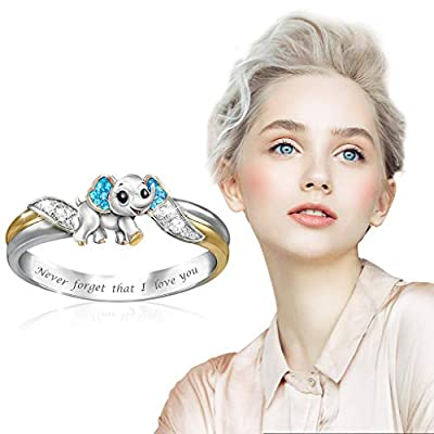 Maikouhai Mother's Day Ring with Birthstone and Aminal, Personalized Mom's Family Ring, for Mother, Women, Christmas, Birthday, Valentines Day, Anniversary, Size 5-10mm (Elephant 2, 5 mm)