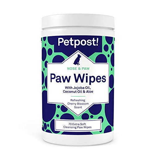 Petpost | Toallita para Patas de Perros - Limpiador para Patas de Perros Nutritivo y Revitalizante con Aceite de Coco, Aceite de Jojoba y Aloe - 70 Almohadillas de Algodón Ultra Suave (Flor de Cerezo)