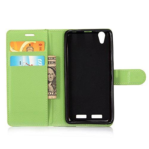 MINGYOUNG Funda para Lenovo K10(K10e70) Flip Cover Cuero Billetera Carcasa Card Slot Kickstand Magnética Case para Lenovo K10(K10e70) (Verde)
