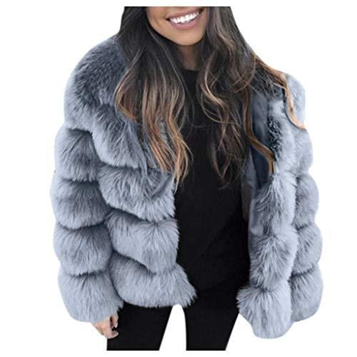 Shinehua Dames imitatiebont mantel verdikte bontmantel pluizig warm outwear elegant imitatiebont mantel jas kunstbont kort coat bontjack wollen mantel pluche mantel teddybont mantel jas