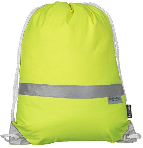 Salzmann Reflektierender Turnbeutel Sportbeutel ausgestattet mit 3M Scotchlite Neon Gelb