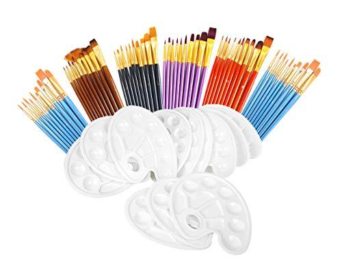 S & E TEACHER'S EDITION 72 Pcs Paint Brush Set, 60 Pcs Paint Brushes with 12 Pcs Palettes for Kids or Adults.