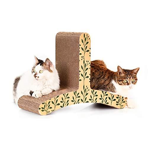 Tuzi Qiuge Cat Scratcher Verkratzen Lounge for 2 Katzen, T-Shaped Cat Climber Corrugated Papier Katze Kratzbrett (Sicherheit, Ungiftiger)