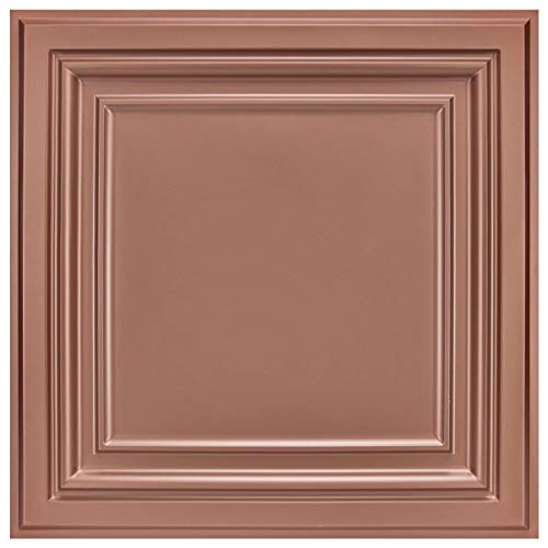 Art3d PVC Ceiling Tiles, 2'x2' Plastic Sheet in Copper (48-Pack)