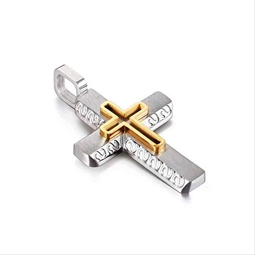 LDKAIMLLN Co.,ltd Collar Vintage Moda Cruz Colgante Collar Acero Inoxidable Diseño Personalizado Colgante Hombres Joyería