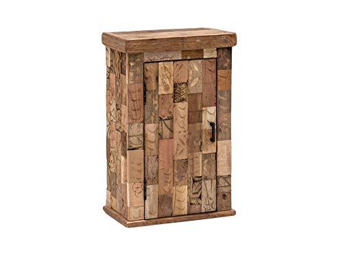 Woodkings® Bad Hängeschrank Patna Altholz Möbel Wandschrank rustikal Unikat Holz antik braun Innenleben von Ziegelformen Badschrank Badmöbel Landhaus Unikat recycelt