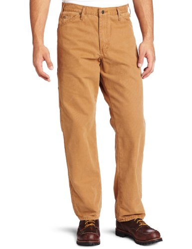 Dickies Men's Relaxed Fit Sanded Duck Carpenter Jean, Brown Duck, 36x30