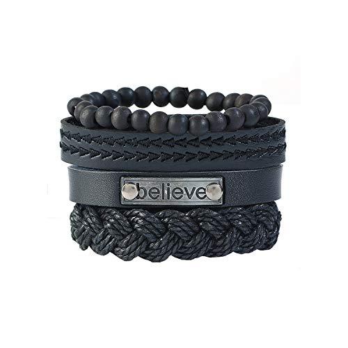 Harla 4Pcs / Sets Handgelenk-Leder-Armband-Armband-Frauen Mens-Leder-Armbänder Sets Männlich...