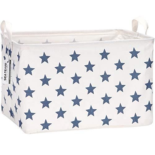 Sea Team Collapsible Rectangular Canvas Fabric Storage Bin Shelf Basket Organizer for Nursery & Kid's Room, 16.5 x 11 x 9.8 inches, Navy Star