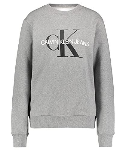 Calvin Klein Iconic Monogram Crewneck Sudadera, Gris (Mid Grey Heather P2f), M para Hombre