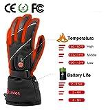 Savior beheizte Handschuhe für Männer und Frauen, Palm Lederhandschuhe für Winterski und Eislaufen , Arthritis Handschuhe und 7.4V 2200 Mah Elektrische wiederaufladbare Batterien Handschuhe (Schwarz) - 3
