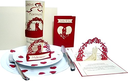 Pop Up 3D Invitations de mariage dans le menu Set 'rouge' – Invitation, support, cartes de table, planche A4 pour texte Imprimer