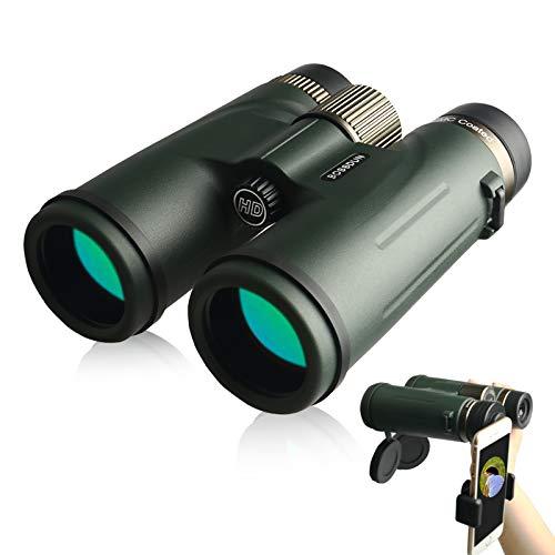 AYYDS Prismaticos Profesionales 12x42 HD Binoculares de Largo Alcance Impermeable Anti-Niebla con Prismas BAK4 y FMC para Observación de Aves y Caza - con Adaptador de Smartphone & Bolsa de Transporte