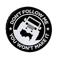 SUVタイヤカバー タイヤ 収納 屋外自動車 RV タイヤ 保管 防水生地 カー用品 防紫外線 スペアタイヤカバー ジムニー タイヤカバー 完全防水 タイヤ カバー 背面 14インチ,15インチ,16インチ,17インチ タイヤ 保管カバー 4WD 私を追いかけないで black 17inch