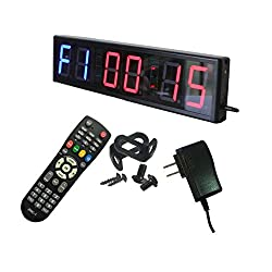 Ledgital Large Cross fit Clock Size 20x4.7in Gym Timer for Workouts w/Remote Control