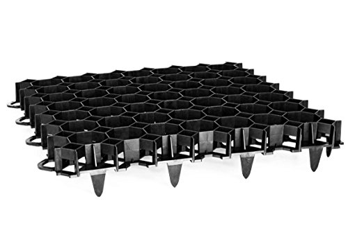 TerraGala Rasengitter dunkelgrau (Gesamtfläche: 2,7m²), Wabengitter Platten zum Rasen- und Bodenschutz, für Rasen- und Kiesflächen (12)