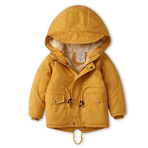Chaqueta ultraligera, cálida y cortaviento Chaqueta de algodón con capucha con capucha con capucha for niños de invierno Capa de rompevientos y niñas Chaqueta de algodón de longitud media de longitud