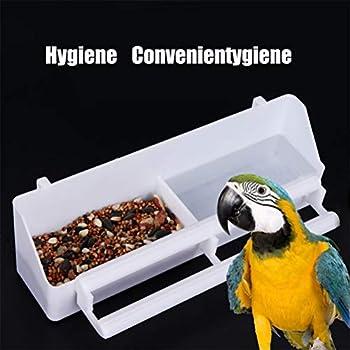 2 pièces en plastique bol d'alimentation pour oiseaux Double cage à oiseaux mangeoire à eau assiette en cage mangeoire à oiseaux bol d'eau blanc abreuvoir à oiseaux mangeoire à oiseaux distributeur