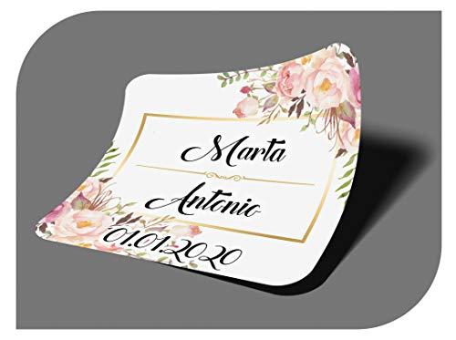 CrisPhy Pegatinas Personalizadas Boda con Nombre y Fecha, Etiquetas Adhesivas para Invitacion Boda, Bautizo, Compromiso, Comunion, Cumpleaños, Fiesta, Vintage, Sellos (Modelo 10)