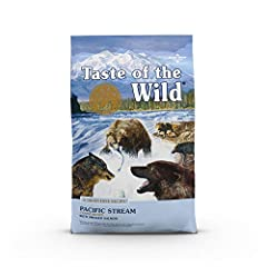 Taste of the Wild Pacific stream with smoked salmon; real Salmon is the #1 ingredient; optimal amino acid profile, protein rich for LEAN, STRONG MUSCLES Premium ingredients with added vitamins & minerals; fruits and vegetables as SUPERFOODS for hard-...