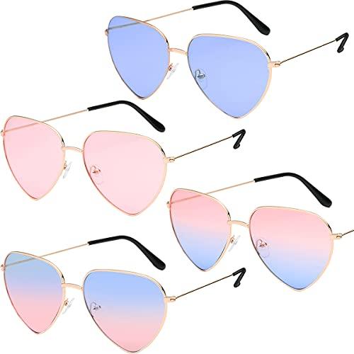 Gafas de Sol con Forma de corazn -Miotlsy 4pcs en Estilo Hippy para Accesorio de Disfraz de Hippie Marco Dorado Rosa Ligeros y Retro para