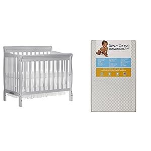 Dream On Me 4 in 1 Aden Convertible Mini Crib with Dream On Me 3 Portable Crib Mattress, Grey