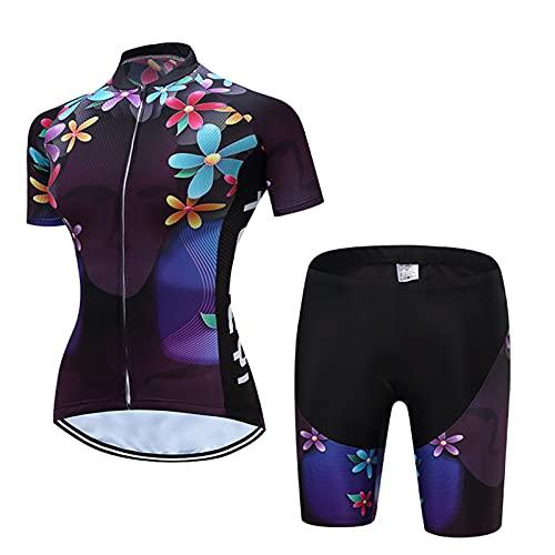 YONGKE Traje Ciclismo De Las Mujeres, Corto Maillots de Ciclismo Verano, Manga Corta y Pantalones Cortos con 3D Gel Bib Acolchados para Bicicleta MTB Deportes