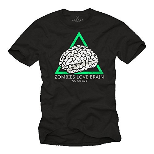 Camiseta con Mensaje Gracioso - Zombies Love Brain So You Are Safe - Negra M