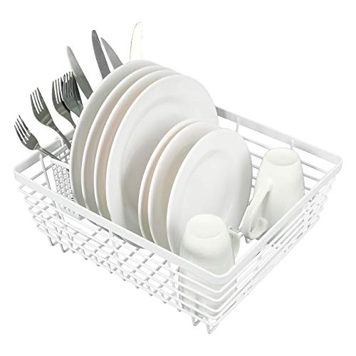 TQVAI Kitchen Dish Drying Rack Metal Dish Drainer with Full-Mesh Silverware Utensils Basket Holder, White