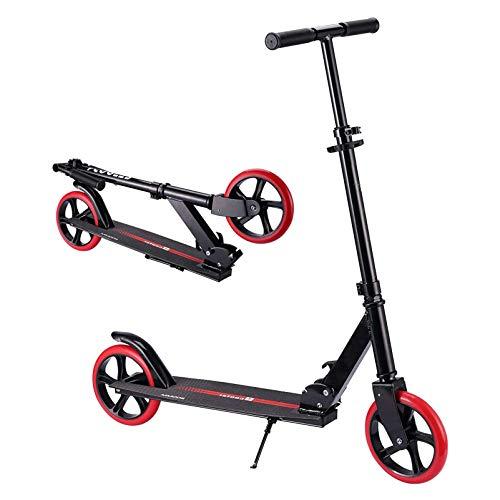 HYE-SPORT Patinete de 2 Ruedas para Adultos | Patinete Profesional Plegable con Plataforma Extra Ancha 3 Altura Ajustable | Ideal para Ciclistas de hasta 220 Libras.