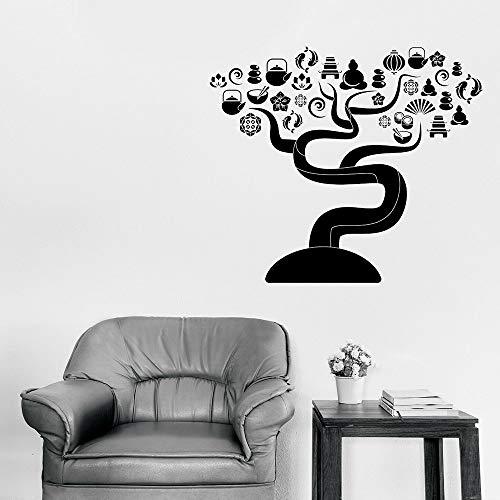 zhuziji Spa Salon Vinyle Sticker Zen Yin Yang Massage Relax Yoga Stickers Muraux pour Salle De Massage Nordic Home Decoration Art Peintures42x48cm