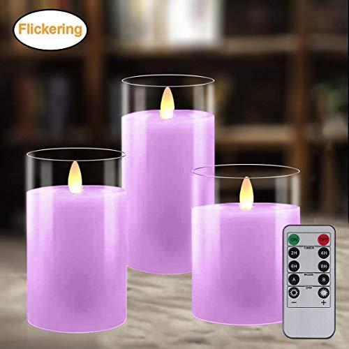 LED Kerzen 3er Pack, Flammenlose Kerzen, Flackernde Kerzen, Batteriebetriebene Kerze Echtwachs Stumpenkerze mit Zeitschaltuhr Fernbedienung für Haus Dekoration Hochzeit Deko, 10cm/12,5cm/15cm (Lila)