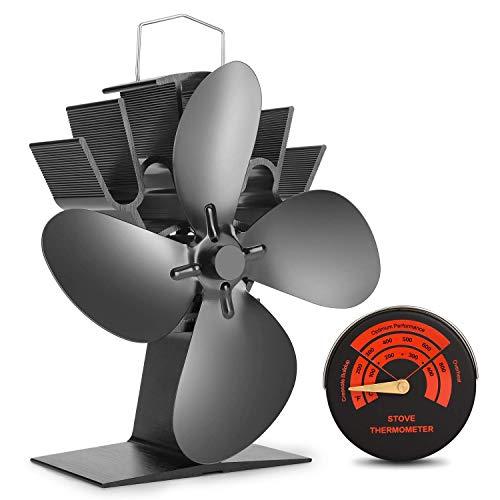 Ofenventilator mit 8 Klingen von Mini-Größe - Leiser, Heizbetriebener Ofenventilator / Lüfter für Extrem Kleine Räume - 30% Größer als 4 Klingen
