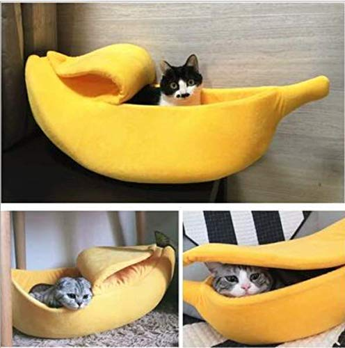 Banana Shape Pet Bed Cat House Warmer Soft Pet Bed Cotton Sleeping Bag for Dog or Cat (Yellow, L)