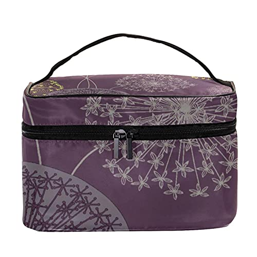 Abstract Purple Floral Travel Makeup Bag Large Cosmetic Bag Makeup Case Organizer Zipper Toiletry Bags for Women Girls
