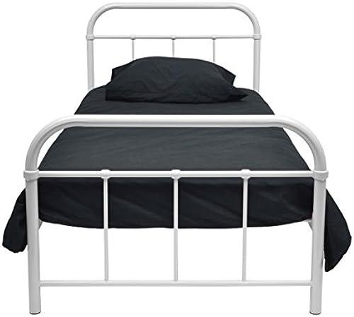 Unbekannt Générique Bett Metall 90 190 Weiß