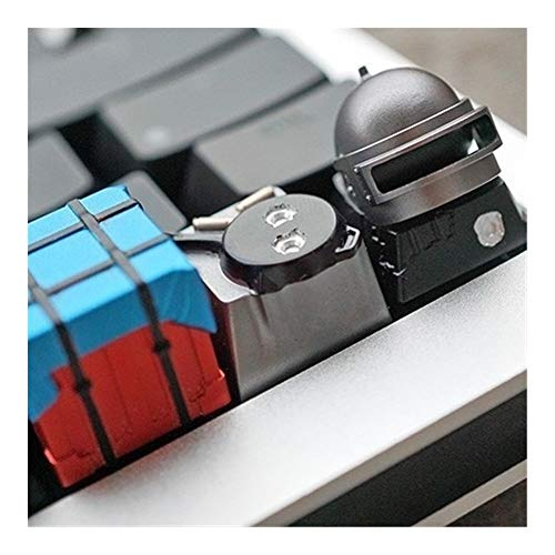 ZJP-dzsw Keycaps en Alliage d'aluminium Full Metal Keycap Caps Clavier mécanique for PUBG Trois Niveaux Casque Pan (1pc) (Color : Three Level Helmet)