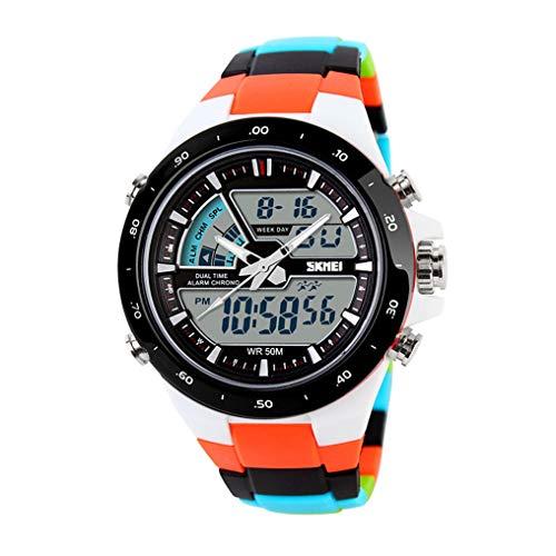 XJIANQI Mens Sports Digitaluhr 50M wasserdichte Uhren 12/24 Stunden Format, Wochenanzeige für Männer Gummi LED-Armbanduhr Shock Resistant Casual Handgelenk Quarzuhren Geschenk für Kinder-B
